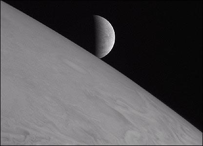Europa peeks above Jupiter  Image: Nasa/JHUAPL/SWRI