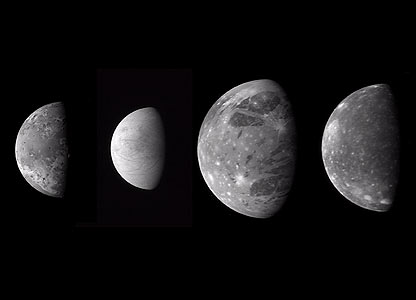 The four Galilean satellites   Image: Nasa/JHUAPL/SWRI
