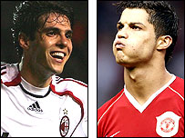 AC Milan's Kaka (left) and Ronaldo