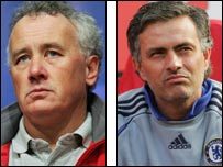 Rick Parry and Jose Mourinho
