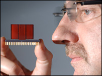 Researcher looks at an artificial nose
