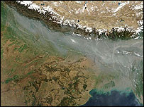Satellite photo of India-Nepal border