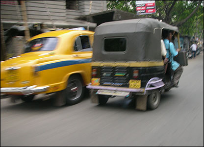 Taxi and rickshaw in Calcutta