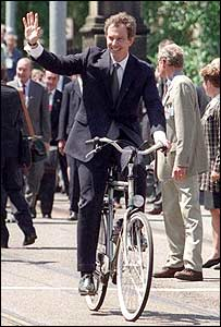 Tony Blair cycling in Amsterdam in 1997