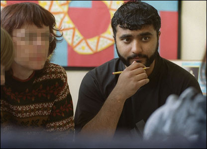Khan photographed as a teaching assistant in Leeds