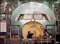 Boeing aircraft under construction
