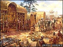 Painting of Jamestown in the early 1600s