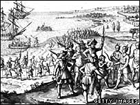 Artists impression of first English settlers arriving in America