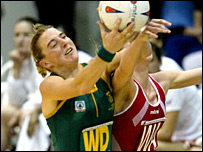 South Africa's Liezel Wium challenges England's Olivia Murphy in the 2005 quarter-final