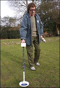 Bill Wyman with his metal detector