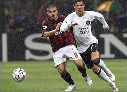 Gennaro Gattuso chases Ronaldo in the early stages