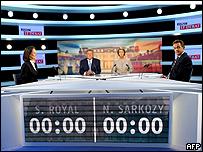 سيجولين رويال ونيكولا ساركوزي عند بداية المناظرة