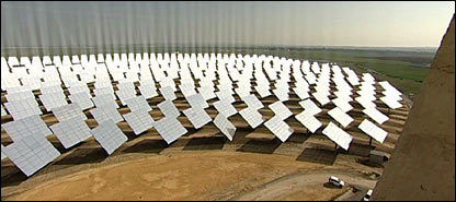 Field of mirrors   Image: BBC