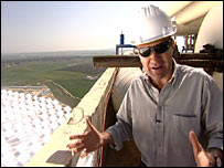David Shukman on top of the tower   Image: BBC