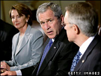House Speaker Nancy Pelosi, President George W Bush and House Senate Majority Leader Harry Reid