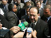 Iraqi Prime Minister Nouri Maliki faces reporters in Sharm el-Sheikh