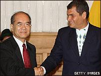 Koichiro Matsuura, director general de UNESCO y Rafael Correa, presidente de Ecuador