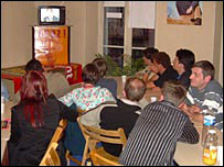 UDF activists watching the debate at the party HQ in Pau