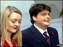 David Shayler arriving at court with his girlfriend