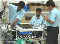 Workers at a BMW plant in India