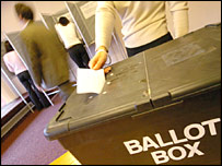 Voter places ballot paper in ballot box