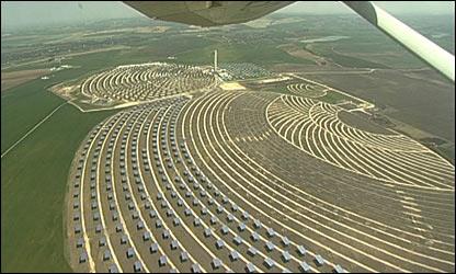 """Vista aérea de las """"plantaciones de espejos"""""""