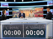Wednesday's TV debate between Segolene Royala and Nicolas Sarlozy