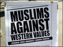 "An Al Muhajiroun poster from the mid 1990s declaring ""Muslims against western values"""