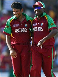 New West Indies captain Sarwan and former skipper Brian Lara