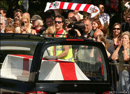 Fans and Alan Ball's hearse