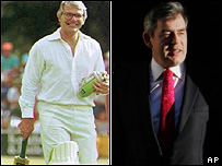 John Major playing cricket in 1991, Gordon Brown