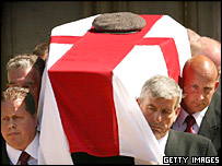 Alan Ball's coffin carried into the cathedral