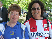 Angie Keith and Sandra George - Portsmouth and Southampton fans