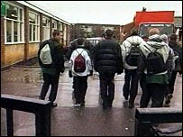 boys walking into school