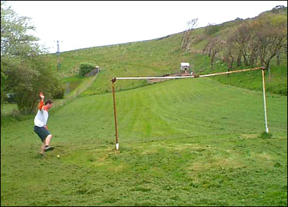 A clifftop football pitch in South Devon