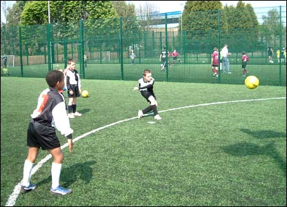 District cubs 7-a-side football competition in Egham, Surrey