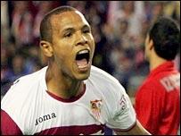Luis Fabiano celebrates scoring for Sevilla