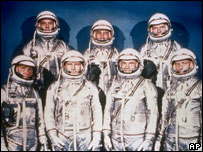 The original Mercury Seven pose in their spacesuits, 1961 - Walter Schirra is first left, bottom row