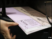 Scanner and ballot paper