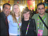 Bosnia's Amra Nadraevic (second right) with Eurovision friends from Spain, Greece and Lithuania