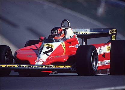Gilles Villeneuve on his way to winning the 1979 Race of Champions at Brands Hatch in the 1978 Ferrari 312T3