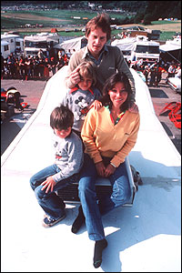 Gilles Villeneuve with his family on the roof of their motorhome in the paddock at a Grand Prix - left to right are son Jacques, daughter Melanie, Villeneuve himself and wife Joann