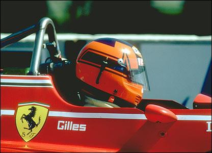 Gilles Villeneuve drives his Ferrari in 1982