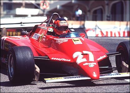 Gilles Villeneuve in the Ferrari 126C2 at the 1982 US Grand Prix West in Long Beach