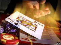 Croupier dealing cards, BBC