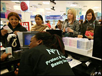 Shoppers at Boots