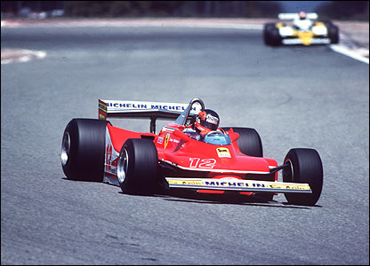 Gilles Villeneuve's Ferrari leads the Renault of Jean-Pierre Jabouille at the French Grand Prix in 1979
