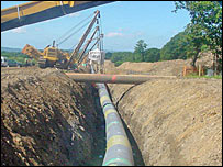 The gas pipeline under construction