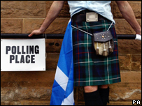 A kilted man at a polling station