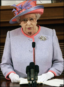 The Queen addresses a special session of the Virginia Assembly at the Virginia State Capitol